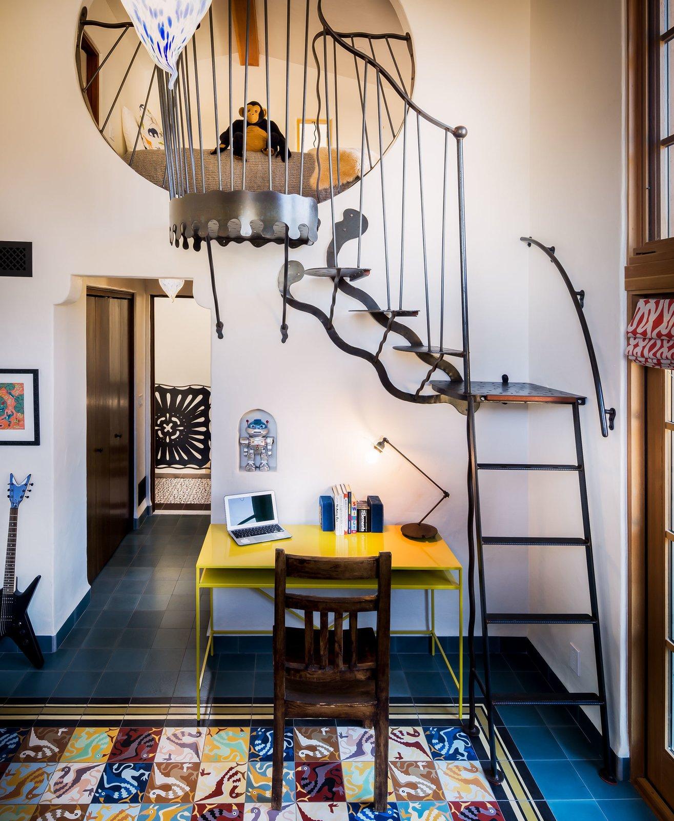 Floor using the Griffin Tile. Ironwork by David Shelton Designs.  La Roca