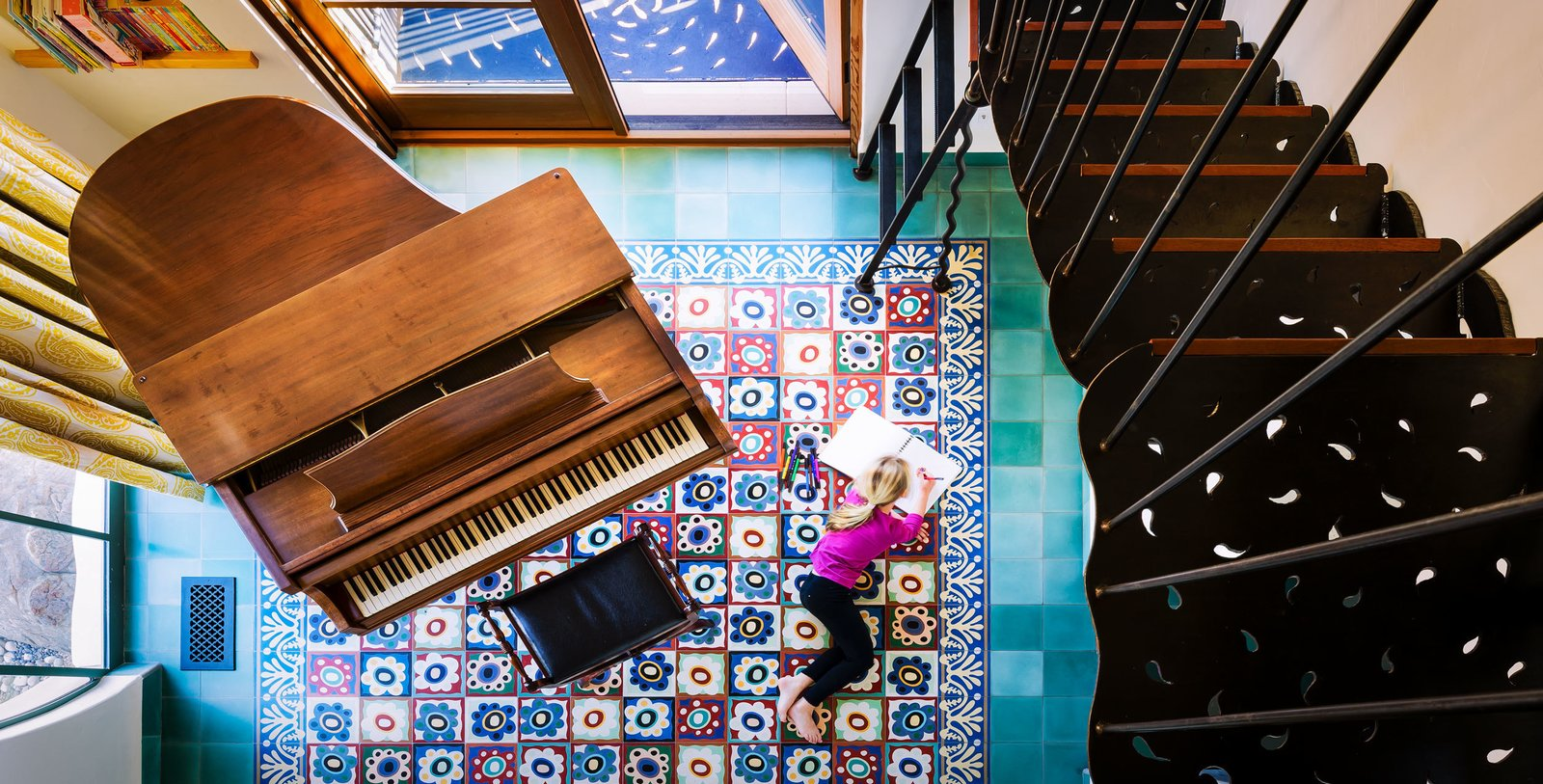 Floor using the Mazzy Flower Tile.  La Roca