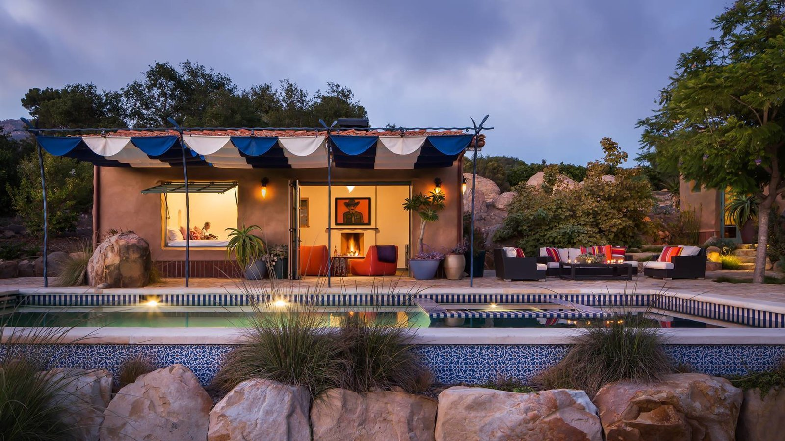 Cabaña. Pool exterior using Paul's Flower Tile.  La Roca