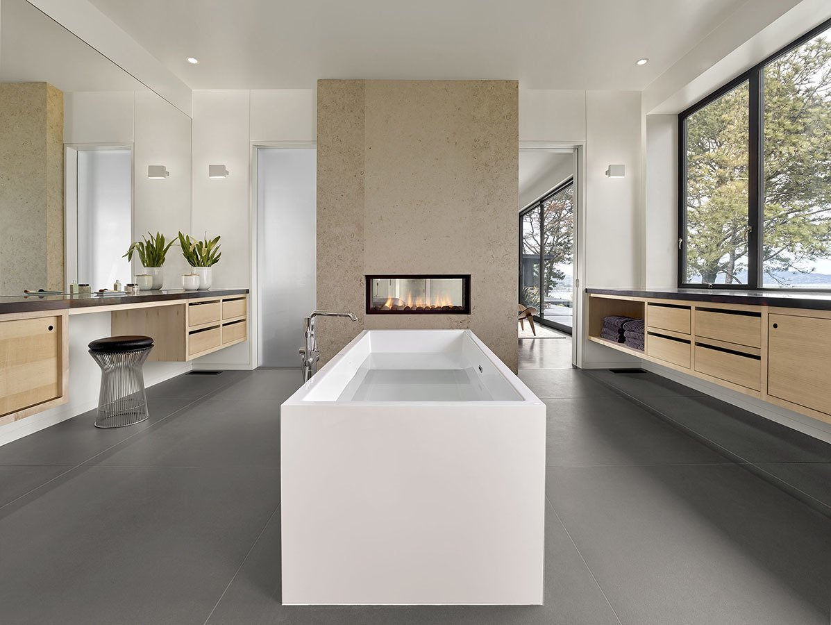 Bath, Full, Engineered Quartz, Whirlpool, Recessed, Ceiling, One Piece, Accent, Ceramic Tile, Freestanding, Undermount, and Open Bathroom  Best Bath One Piece Full Accent Photos from Moctezuma 15