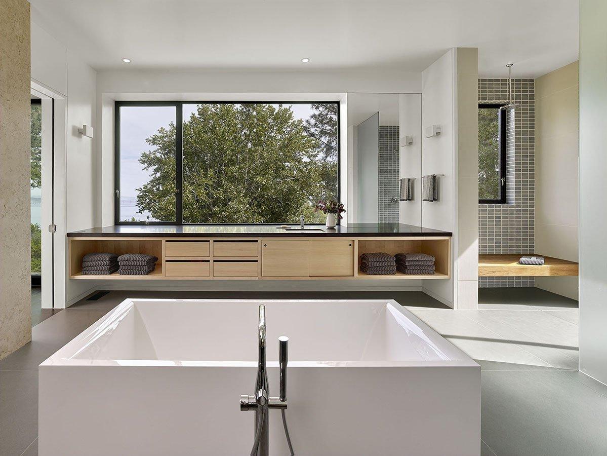 Bath, Recessed, Ceramic Tile, One Piece, Open, Engineered Quartz, Undermount, Freestanding, and Ceiling Bathroom with double 16' vanities  Best Bath One Piece Engineered Quartz Photos from Bathroom