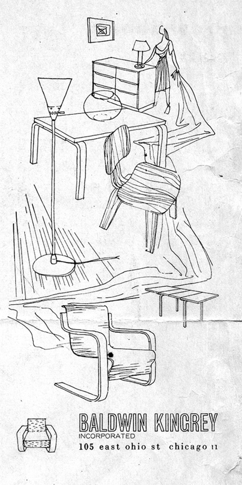 Original drawing by Harry Weese for Baldwin Kingrey's first ad, June 1947  Photo 10 of 21 in How American Modernism Came to the Mountains