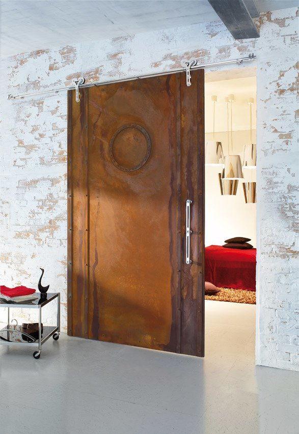sliding barn door with oxidized finish