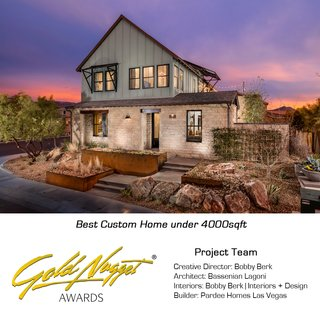 """I was honored to be selected as the Creative Director of the Builder Magazine 2016 IBS Showhomes this past year.  One top of heading the overall design home the two homes, I also fully designed the interiors of the homes including space planning, materials, finishes and furnishings. We couldn't have been more excited when we found out that the Modern Farmhouse won this years Golden Nugget Award for the """"Best Home under 4000sqft""""."""