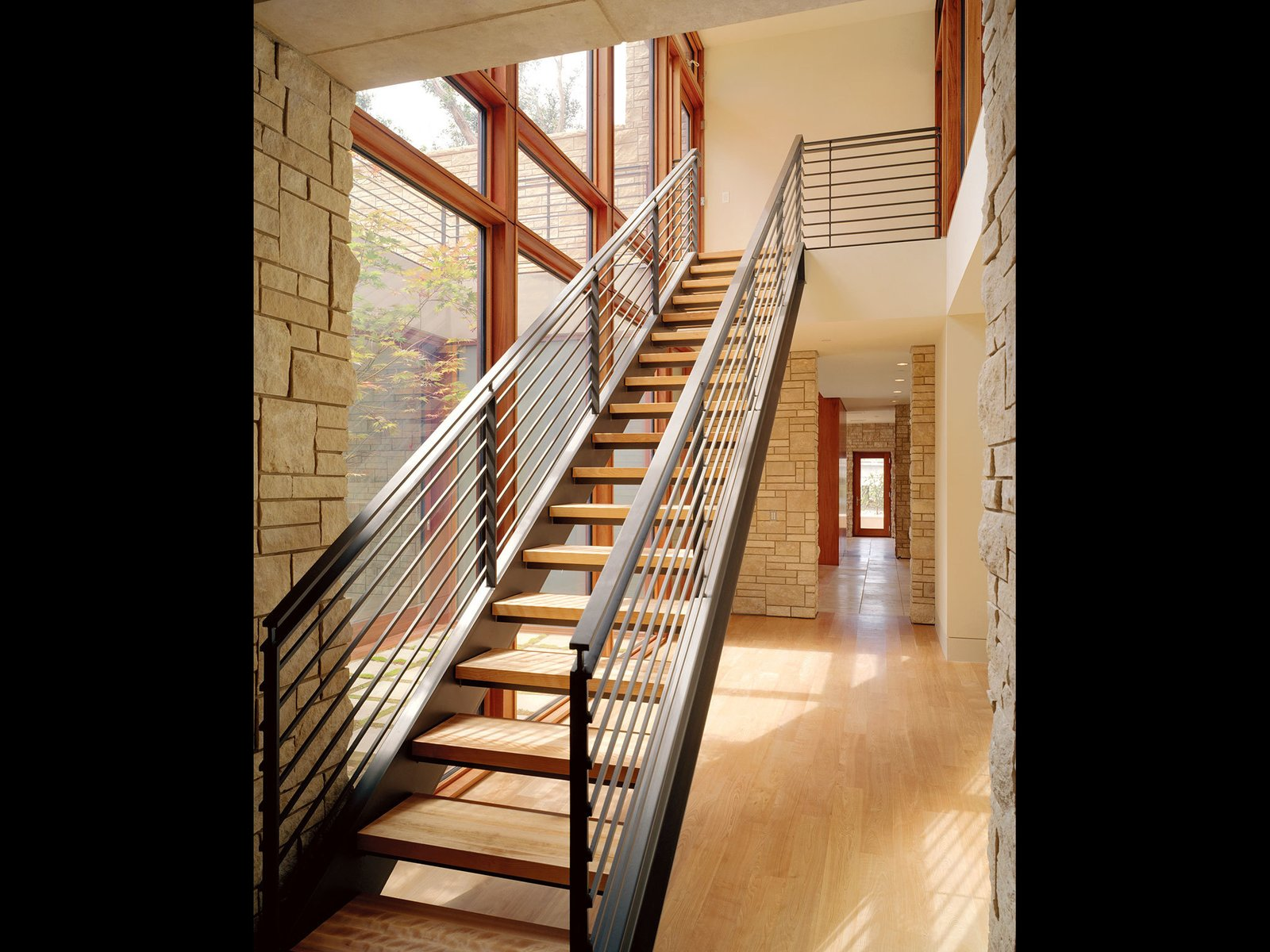 Staircase, Metal Railing, and Wood Tread Edgewood House Mill Valley, CA  Best Photos from Edgewood House