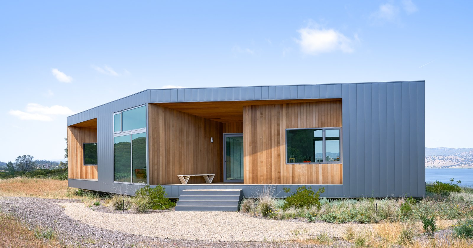 Exterior, Metal Siding Material, and House Building Type Exterior  Lake Berryessa Custom Home by Centric General Contractors