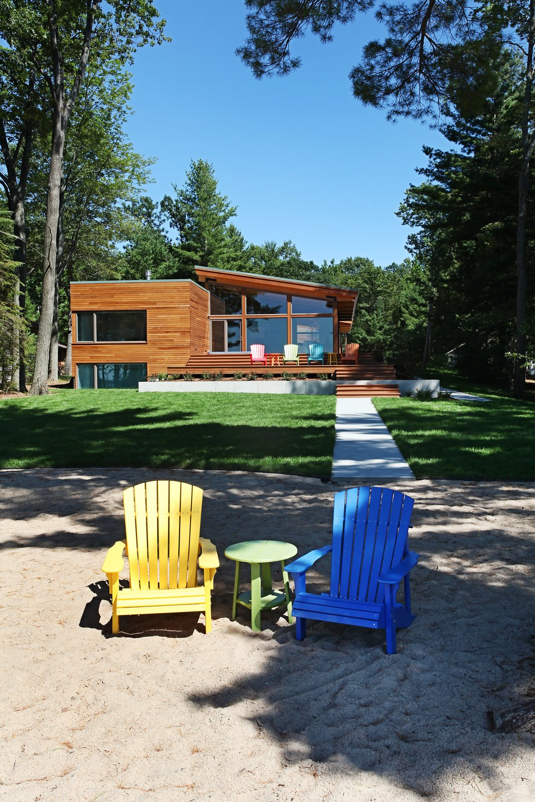 West side of house from beach  Higgins Lake House by Jeff Jordan Architects