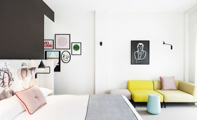 This beautiful, bright bedroom in Sydney's Ovolo Hotel uses blush and light turquoise to showcase the softer side of chartreuse. The space is clean, crisp, and relaxing at the same time. What more could you want in a hotel room?  Photo courtesy of  Wallpaper  #chartreuse #colorcrush #color #yellow #design #mydomaine  Our Latest Color Crush is Perfect for Summer