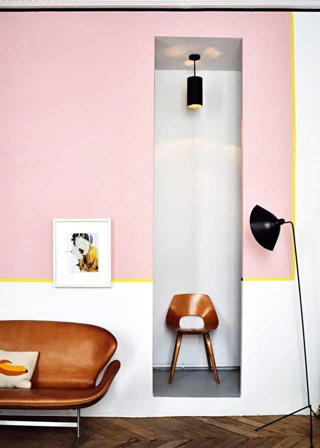 When it comes to color-blocking, chartreuse makes the perfect accent shade. The citrus yellow line stands out between pale pink and optic white to direct the eye around the perimeter of this Parisian apartment.  Photo by Didier Delmas for Marie Claire Maison  #chartreuse #colorcrush #color #yellow #design #mydomaine  Our Latest Color Crush is Perfect for Summer