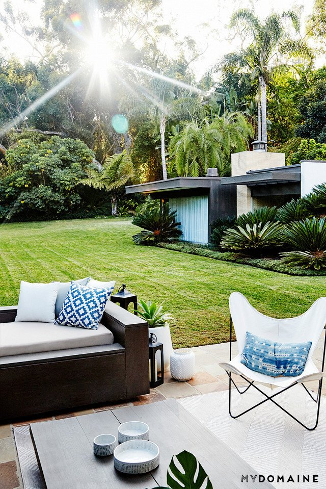 Cover photo by Jenna Peffley for MyDomaine; Styling by Kate Martindale; Design by TwoFold LA  Outdoor Living from Inside Fitness Mogul Lorna Jane's Elegant L.A. Retreat