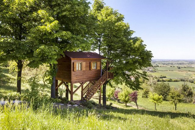 A tree house hideout in the northern Italian hillside sounds like the perfect vacation. There's a swimming pool right on the property, so we suggest visiting during the warmer months when you can enjoy the sun. And wine tours through the gorgeous vineyards are always an option in Montferrat, rain or shine (but you should double-check before booking any tours).  Photo 4 of 7 in 7 Breathtaking Tree Houses You Can Actually Rent on Airbnb