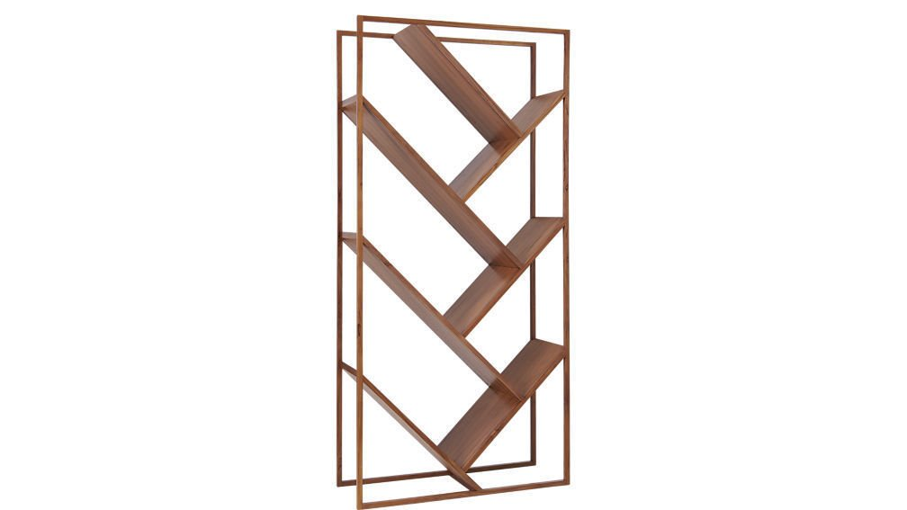 CB2 V Bookcase-Room Divider ($699)  Photo 10 of 18 in 9 Home Libraries We All Want to Curl Up in This Weekend