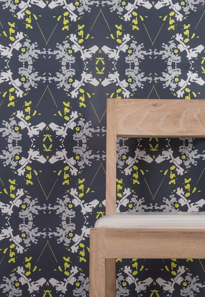 Blackish Magic (Midnight/Chartreuse) Wallpaper; also available as Type II paper  Photo 27 of 42 in Wallpaper That Fixes Walls
