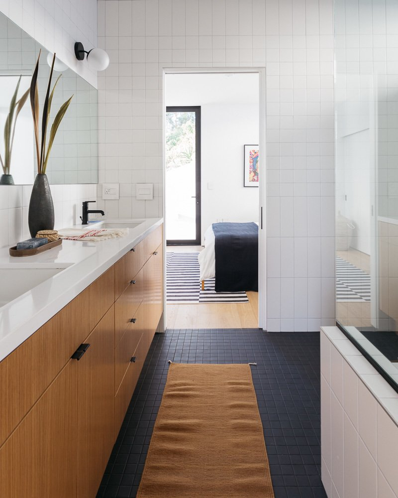 Bath, Engineered Quartz, Porcelain Tile, Wall, Subway Tile, Undermount, and Undermount Bathroom  Best Bath Wall Undermount Porcelain Tile Photos from Tilt-Shift House