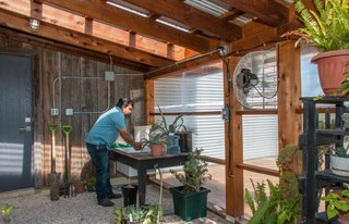 A small greenhouse is attached to the garage. The vintage barn wood on the back wall was salvaged from an old barn on the ranch that had fallen down decades ago.