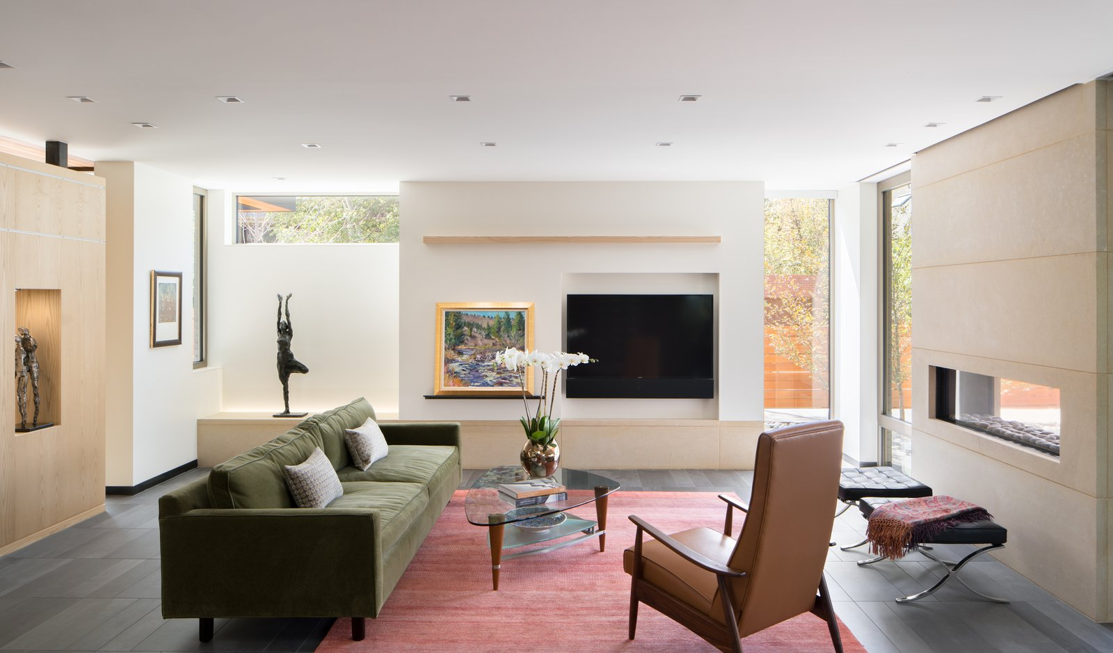 Living, Ottomans, Bench, Sofa, Chair, Shelves, Ceiling, Porcelain Tile, Recessed, Accent, and Two-Sided Living Room  Best Living Porcelain Tile Ottomans Photos from the Duncan Residence