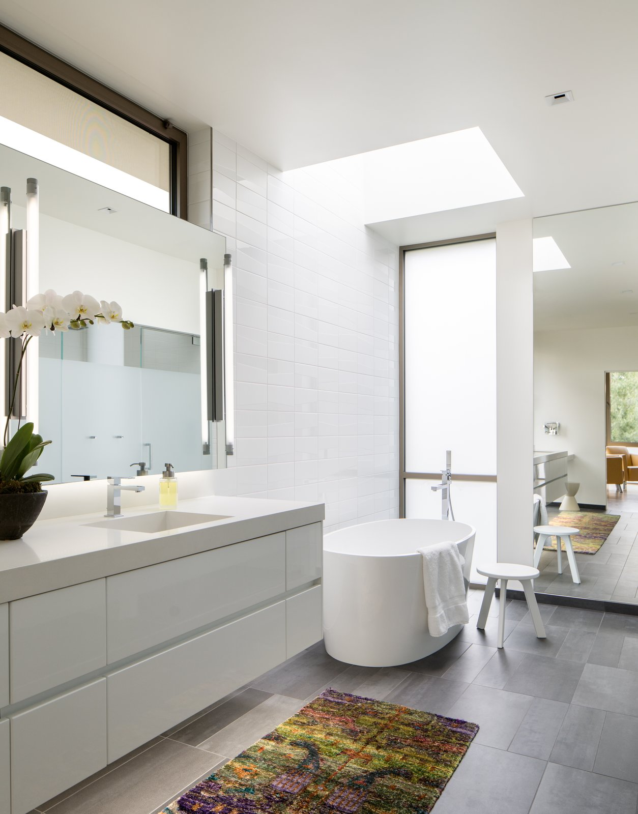 Bath, Engineered Quartz, Porcelain Tile, Undermount, Freestanding, Ceiling, Accent, Enclosed, Porcelain Tile, Recessed, and One Piece Master Bathroom  Best Bath Recessed Accent Photos from the Duncan Residence