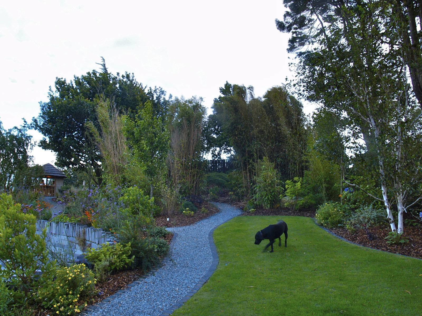 One of the gardens several granite sett-edged lawns.  Except for the oak at the back, all planting in shpt is new.  Clifftop garden North Wales