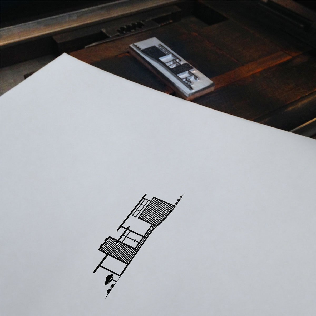 Printed on a traditional letterpress (with no emboss) using a magnesium plate and printed on Cranes Paper (600 gsm). Illustration by Michael Nÿkamp of mkn design.  Mid Century Modern Homes Collection: Illustrations by Michael Nÿkamp