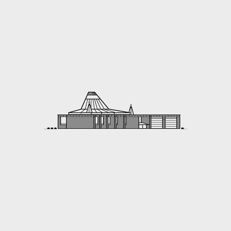 Freeman House, 1966. Architect, Gunnar Birkerts. Illustration by Michael Nÿkamp of mkn design.   Mid Modern by Jonathan Simcoe from Mid Century Modern Homes Collection: Illustrations by Michael Nÿkamp