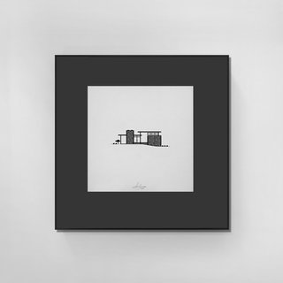 """Flatstone Carlee Straight Home, 1959. Architects, Obryen & Knapp for Albert Builders. Mounted on a 8"""" x 8"""" frame, black matte and signed as an A/P (artist proof)."""