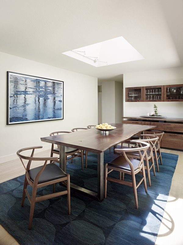 This sun-drenched dining room boasts rich blues and earthy browns.  Ridge Road