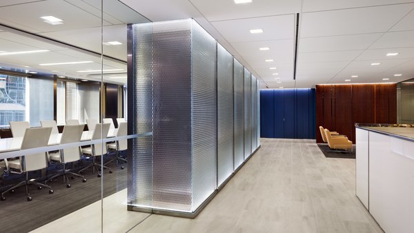 Solid and stately, the Binary XL feature wall Morris, Manning & Martin, LLP  Architect/Designer: SKB Architecture and Design Glass Manufacturer: Nathan Allan Glass Studios  View Case Study: http://nathanallan.com/our-portfolio/morris-manning-martin-llp/  Architectural + Decorative Glass