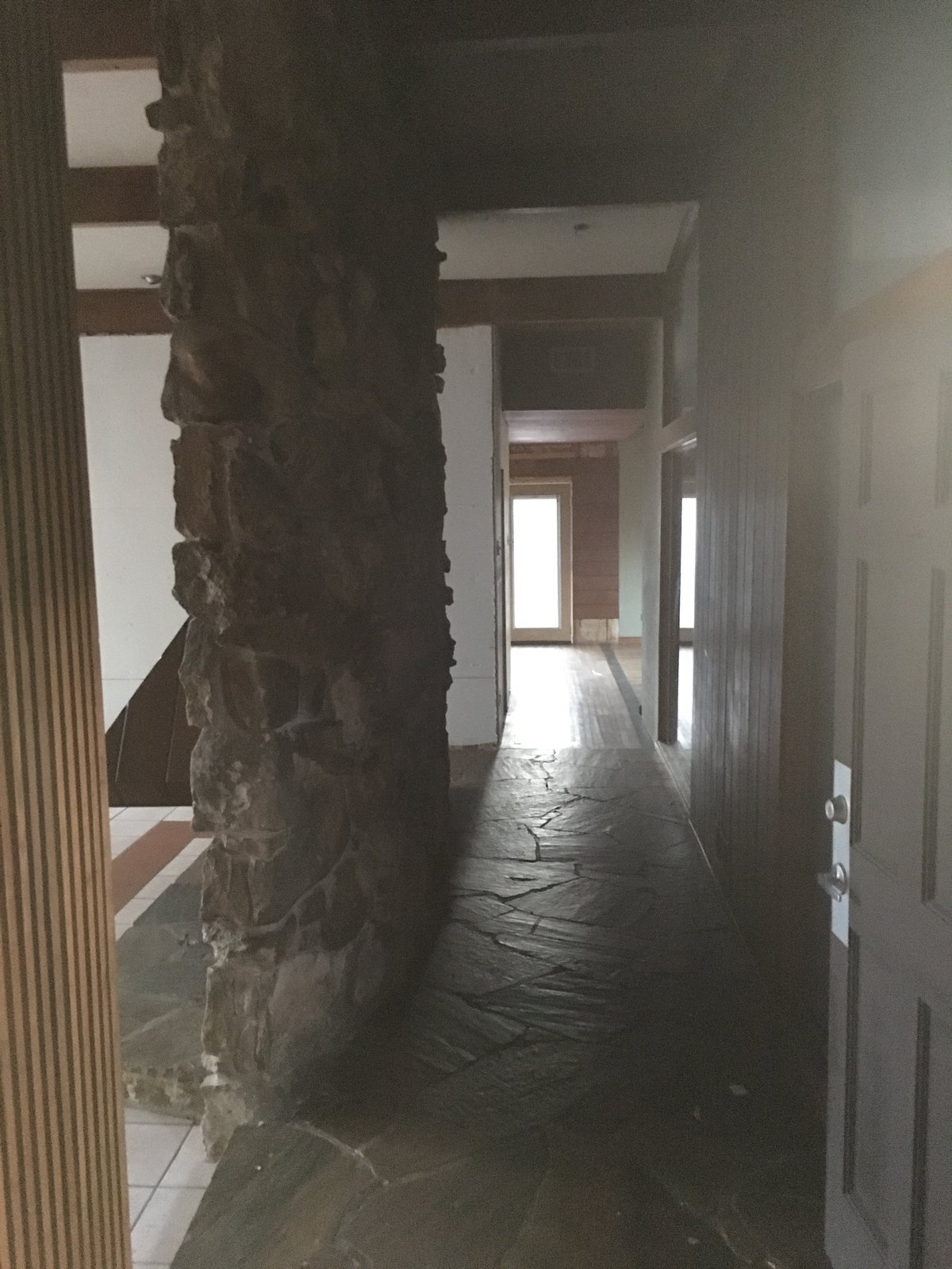 Hallway Entry hall before   1963 Post and Beam Mid Century Modern by Tavis Westbrook
