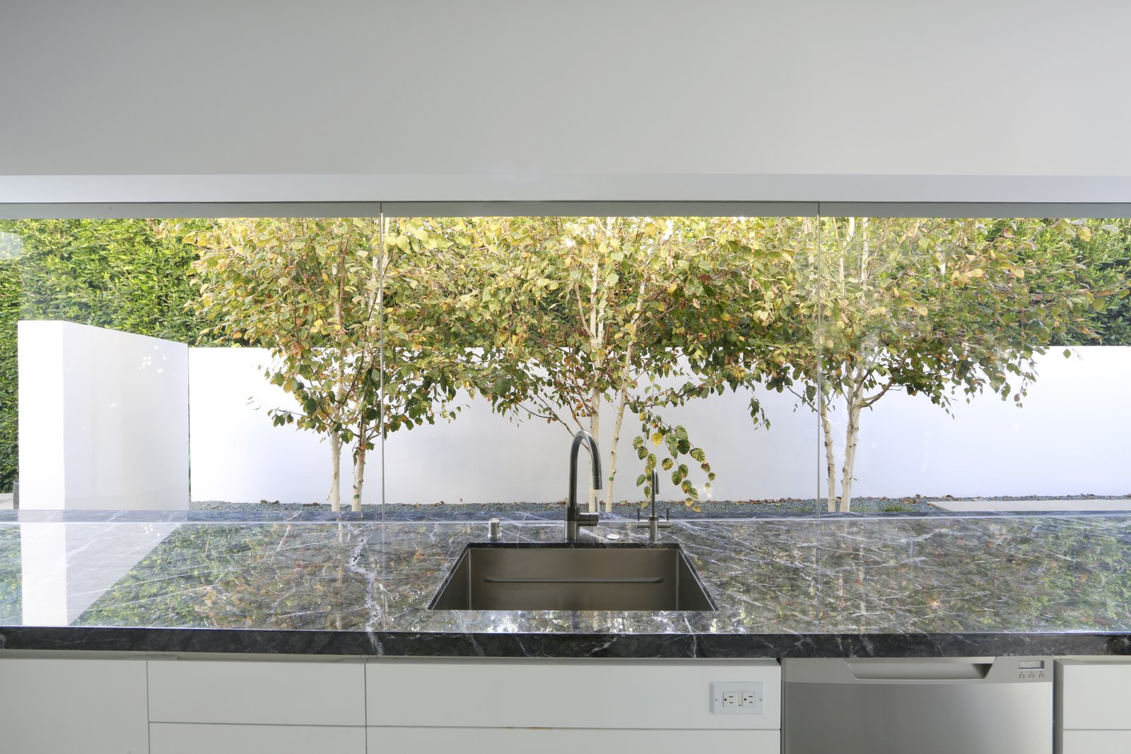 Kitchen White birches play off the white walls in a narrow courtyard just beyond the kitchen.  A New Stage