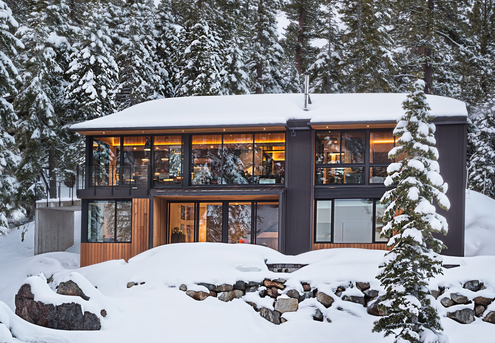 Exterior, House Building Type, Cabin Building Type, Gable RoofLine, and Wood Siding Material Exterior View  New Tahoe