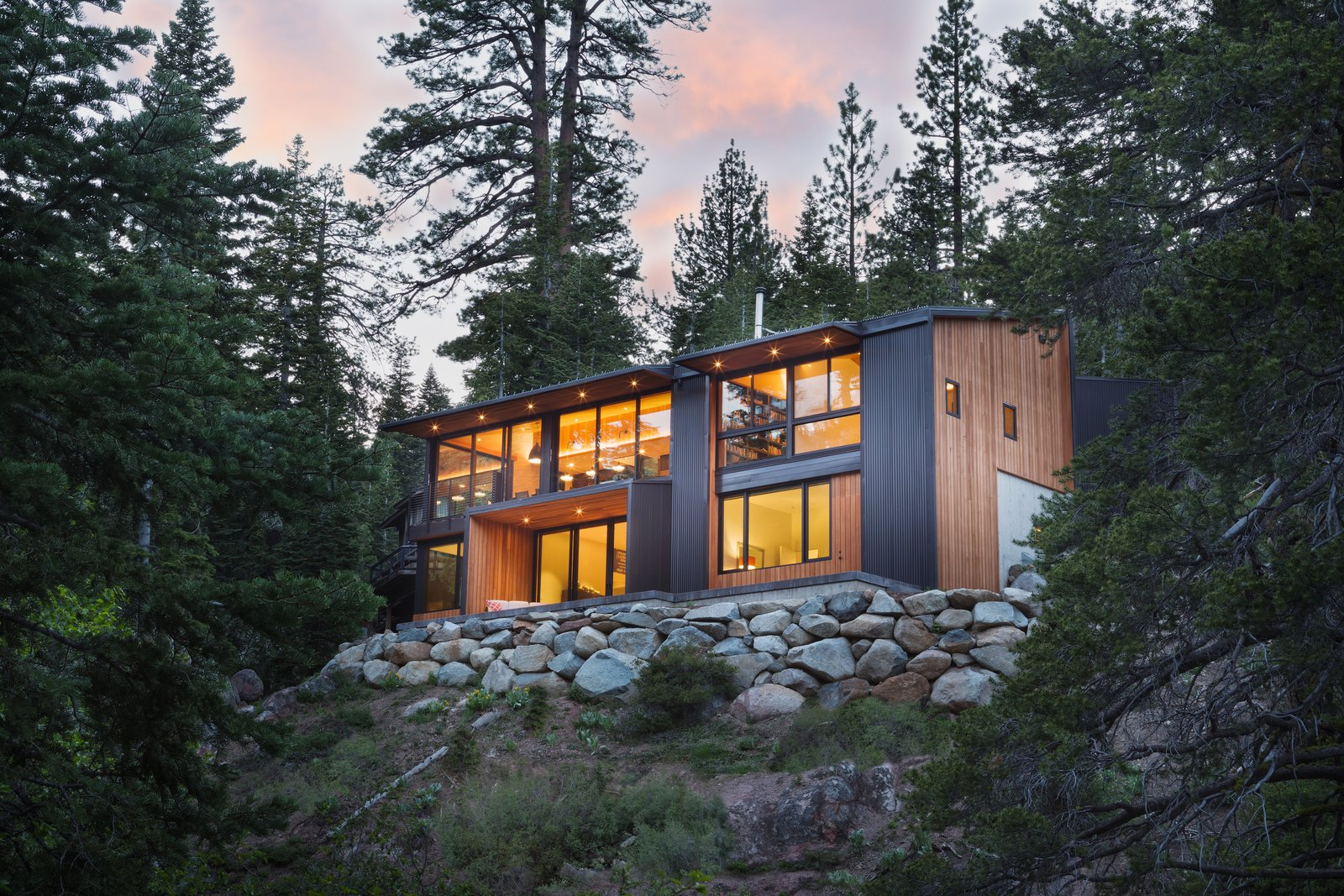 Exterior, Cabin Building Type, House Building Type, Wood Siding Material, and Shed RoofLine Exterior View  New Tahoe