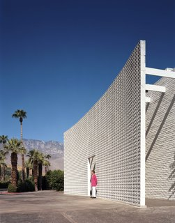 A 23-foot-tall brise soleil flanks the entrance of the Parker Palm Springs.