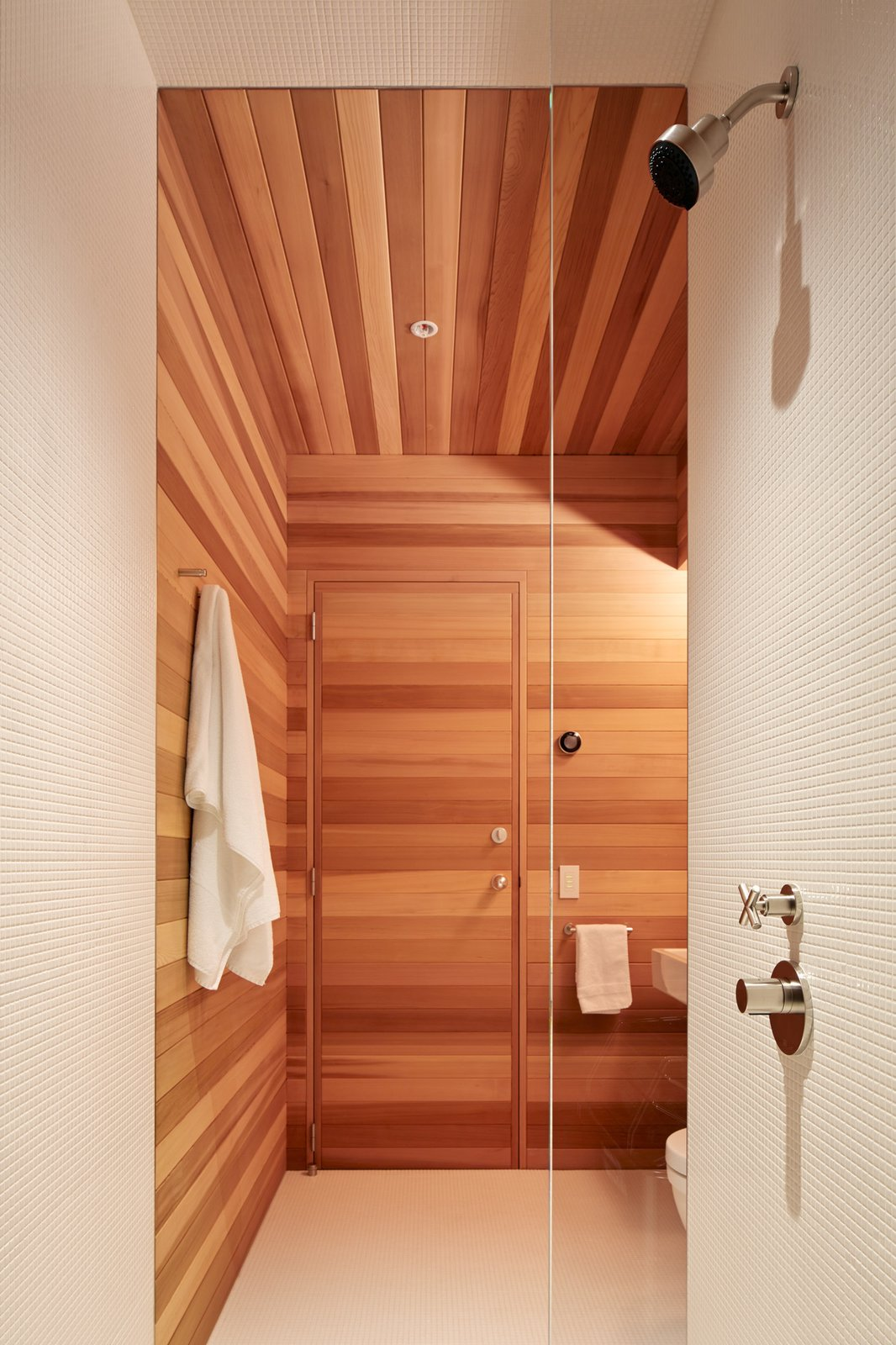Bath Room, Enclosed Shower, and Wood Counter A sauna completes one of two bedrooms in the loft.  Photo 11 of 13 in A Knitting Mill in San Francisco Becomes an Unbelievable Loft For Two Art Collectors