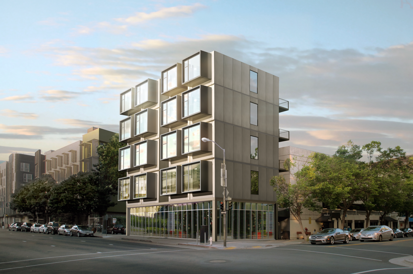 Exterior, Apartment Building Type, and Prefab Building Type The Kasita can be purchased individually or placed in a community development with ground-floor retail as envisioned here.  Photo 5 of 9 in Can These Tiny, Modular Smart Homes Relieve the Demand For Affordable Housing?