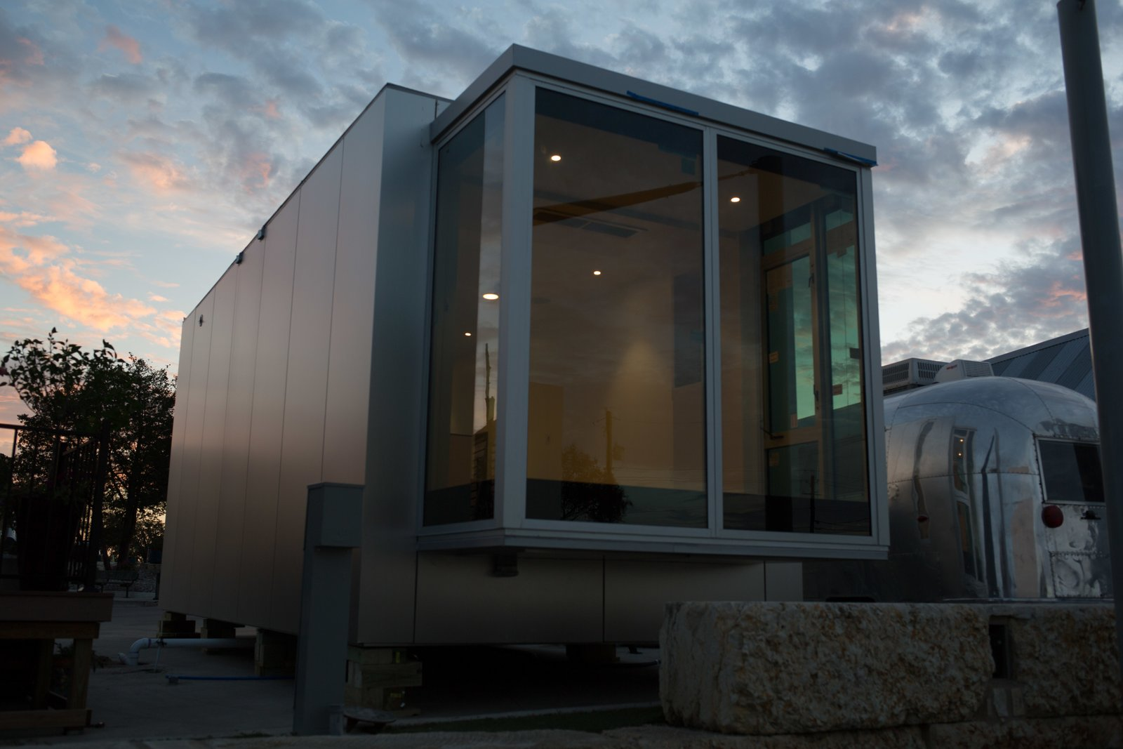 Exterior, Prefab Building Type, Glass Siding Material, and Flat RoofLine The interior of the glass cube is a flat, flex space for an office, yoga, or creative interpretation.  Photo 9 of 9 in Can These Tiny, Modular Smart Homes Relieve the Demand For Affordable Housing?