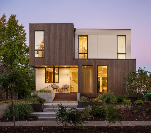 The new home sits on the same footprint, however it gained two bedrooms and another bath and a half. One challenge was extending the cantilevers as far as possible to add more square footage.