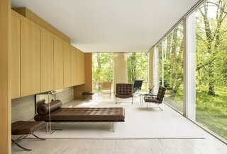 Ludwig Mies van der Rohe's famed Barcelona collection outfits the interior of the Farnsworth home.