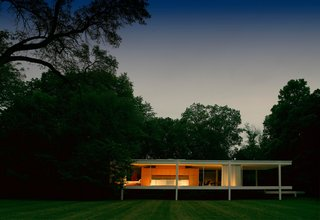 Private events take place on the lawn of the Farnsworth House to help raise funds for flood mitigation efforts. Public tours include late-night outings, Tai Chi, and other creative programs to fund the restoration.
