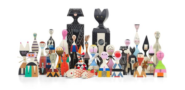 The Wooden Dolls series is meticulously replicated and painted by hand today, just like the vintage pieces by Alexander Girard. Above is Wooden Doll No. 2.