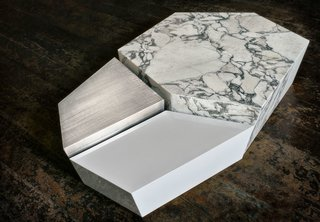 Threesome Coffee Table   Marble, Lacquered, Brushed Stainless Steel  Limited edition of 30 pieces + 2 A.P.