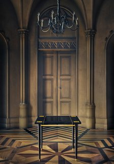 Macau Table  Textured Leather, Lacquered, Black Oak, Brushed Brass  Limited edition of 10 pieces + 2 A.P.