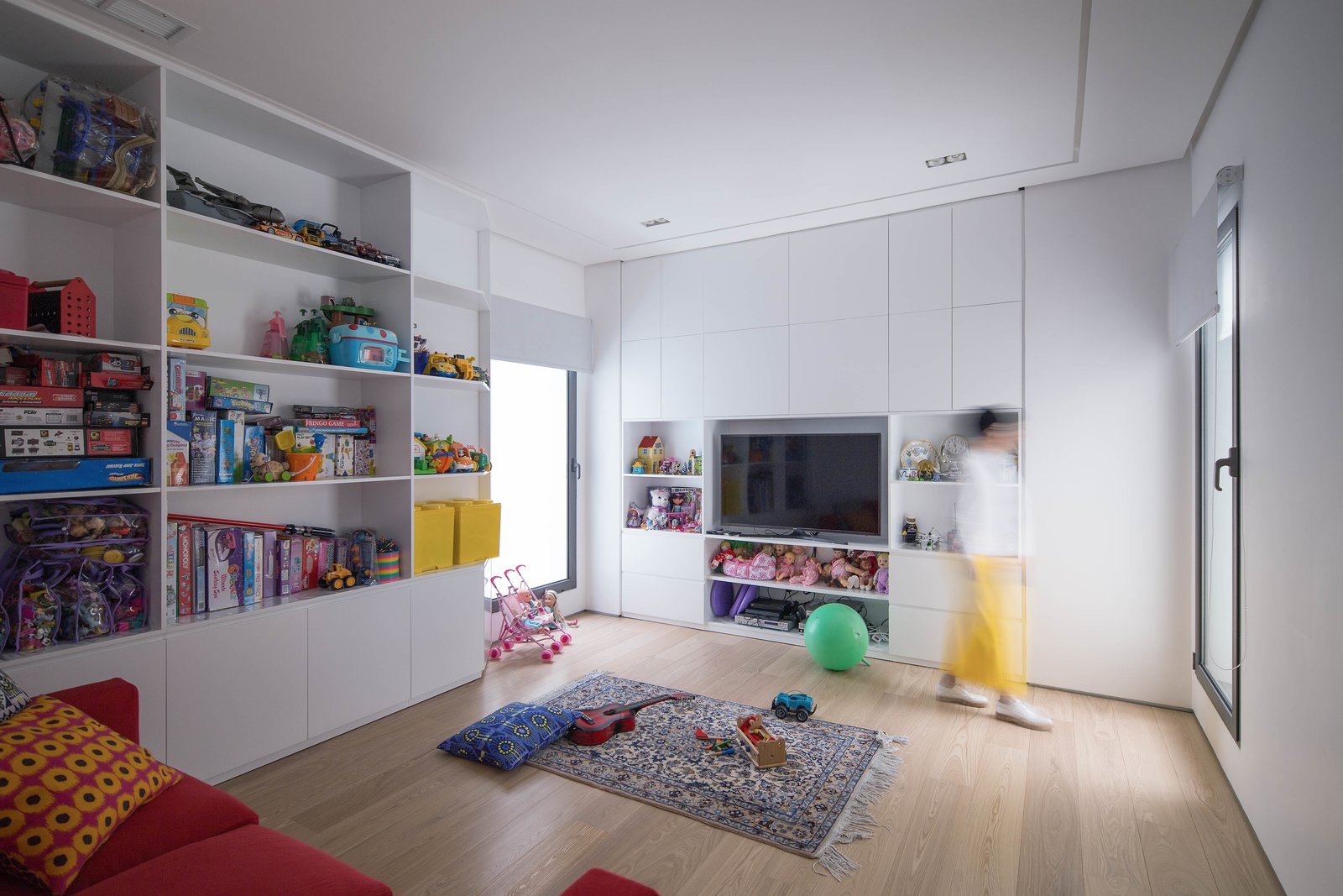 Kids, Bookcase, Storage, Playroom, Light Hardwood, Boy, Girl, and Pre-Teen Kids Room  Best Kids Storage Playroom Bookcase Girl Photos from A House in Yarmouk