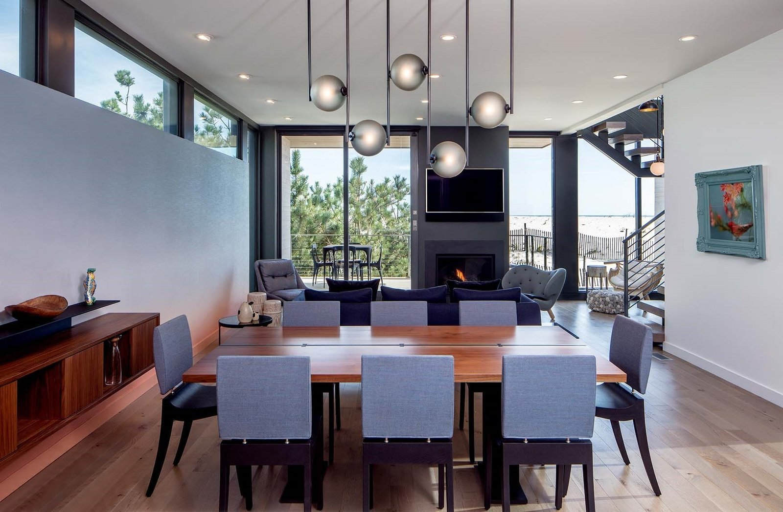 Beach Haven Residence, Dining Table and Living Room.   Beach Haven Residence by Specht Architects