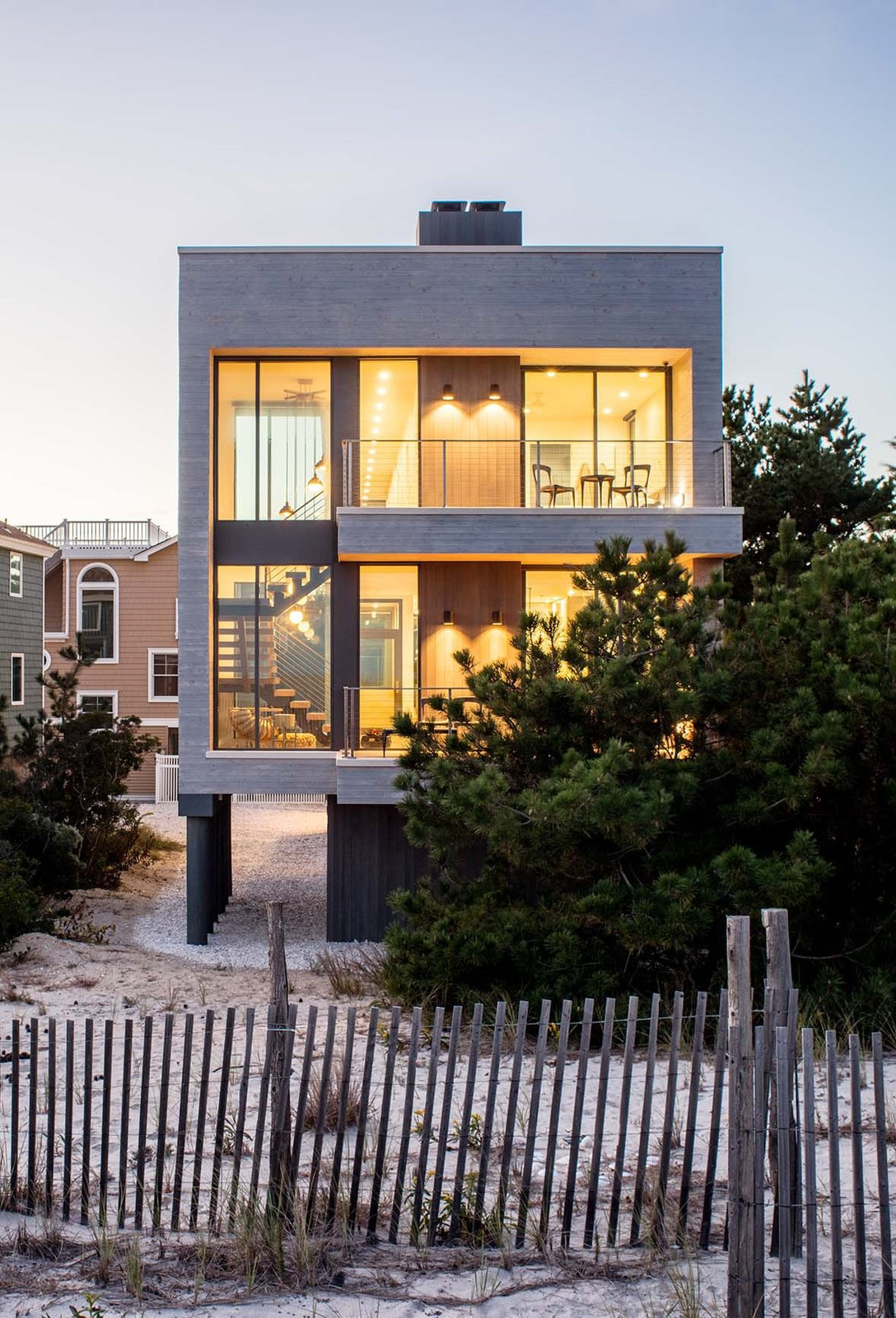 Beach Haven Residence, Exterior from Beach.   Beach Haven Residence by Specht Architects
