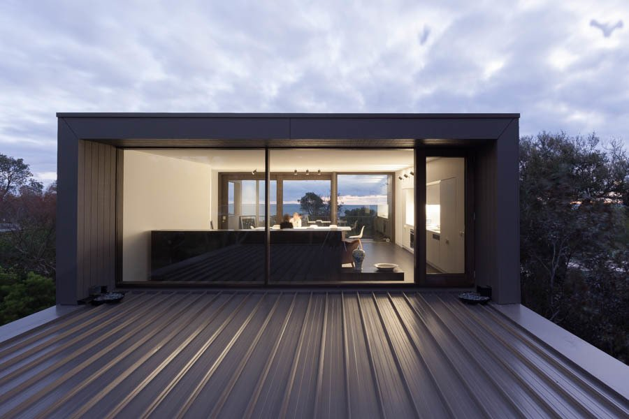 Windows, Wood, and Picture Window Type Living Room at Dusk  Residence J&C by Open Studio Pty Ltd Architecture