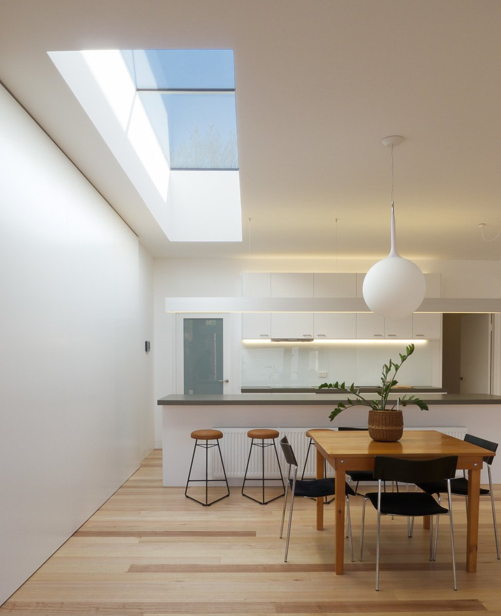 Dining Room, Pendant Lighting, Table, Chair, Medium Hardwood Floor, and Stools Kitchen & Dining  Residence L&N by Open Studio Pty Ltd Architecture