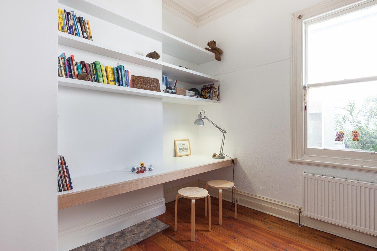 Bedroom, Shelves, Table Lighting, and Light Hardwood Floor Bedroom  Best Photos from Residence AD&H