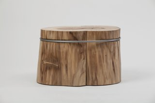 Stool in two stumps and metal... the ring ties and squeezes the two pieces of wood together... Inspired by Brancusi's The Kiss