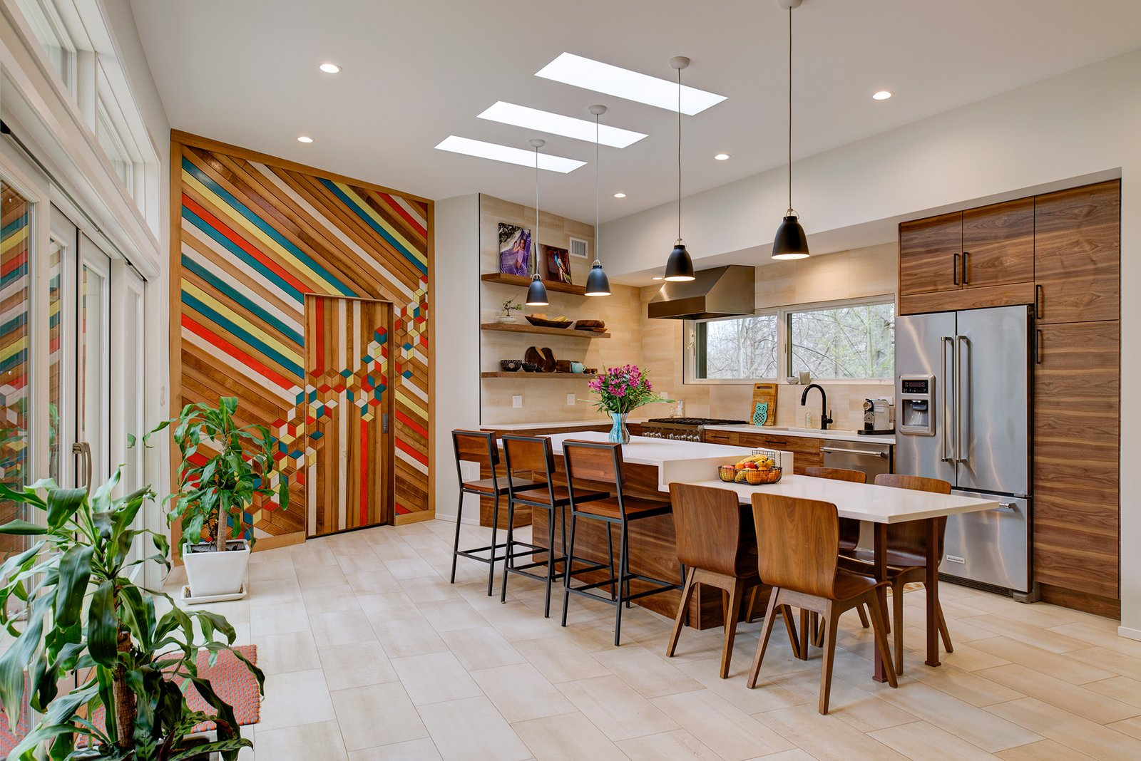 Kitchen, Refrigerator, Pendant, Range, Wood, Drop In, Range Hood, Recessed, Dishwasher, and Open The kitchen features a reclaimed wood installation by artist Blake Sloane from Hyattsville, MD.  Best Kitchen Pendant Dishwasher Range Hood Open Photos from Illumination House