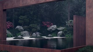 An edgeless pool creates a smooth glass-like effect, reflecting the thickly forested surroundings.